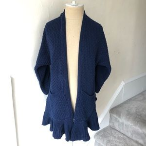 Anthro Guinevere Long Cotton Knit Open Cardigan